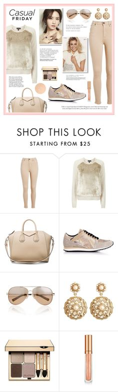 """""""Dressed down in nudes"""" by eereich ❤ liked on Polyvore featuring Topshop, Givenchy, Kenzo, Anja, Valentino, Brooks Brothers, Clarins, Elizabeth Arden and Essie"""
