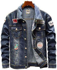 Ripped Denim Jacket Mens, Denim Jacket Fashion, Denim Shirt Men, Mens Fashion, Denim Jackets, Denim Jacket Patches, Trendy Fashion, Men Street, Street Outfit