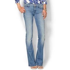 Mother The Runaway Jean found on Polyvore featuring polyvore, fashion, clothing, jeans, mother jeans, zipper jeans, blue jeans, flared jeans and faded jeans