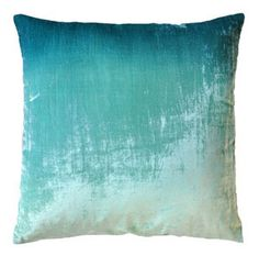Remind yourself of that ocean adventure you just took with this Turquoise Ombre Velvet Pillow by ABC Carpet & Home