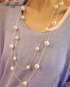 Joyería de La Perla simulada Collar de Moda Collares Largos y Colgantes Grandes Regalos de Navidad de Oro para Las Mujeres Bijoux Collares de Múltiples Capas