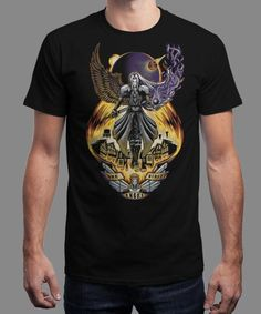 """""""One Winged Angel"""" is today's £8/€10/$12 tee for 24 hours only on www.Qwertee.com Pin this for a chance to win a FREE TEE this weekend. Follow us on pinterest.com/qwertee for a second! Thanks:)"""