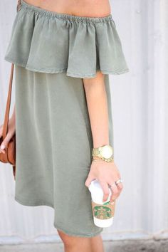 Cute outfit for a night out - Green off the shoulder dress. Summer dress. So adorable.