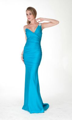 Sexy One Shoulder V Neck Elegant Long Rhinestone Ruched Blue Prom Dress