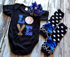 LOVE baseball onesie, leg Warmers & bow From Facebook shop Lil' bow peep boutique