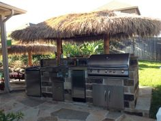 Outdoor kitchen installed complete with tiki style cover. A vacation in your backyard! Sprinkler System Repair, Flower Bed Edging, Drainage Solutions, Kitchen Installation, Landscape Services, Backyard, Patio, Landscaping Company, Outdoor Kitchens