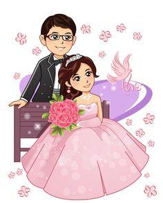 Wedding Images, Wedding Pics, Wedding Couples, Cute Couples, Wedding Cards, Wedding Invitations, Wedding Illustration, Couple Illustration, Wedding Caricature