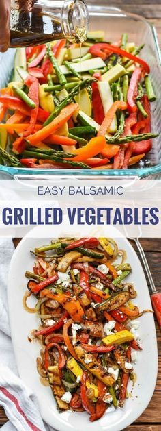 These Easy Balsamic Grilled Vegetables with Goat Cheese use the best summer produce to make a sweet and tangy side dish with the fire roasted flavor of the grill! Related posts:The Best Ever Grilled Chicken Marinade Recipe Cooked Vegetable Recipes, Spiral Vegetable Recipes, Vegetable Korma Recipe, Vegetable Casserole, Vegetarian Recipes, Cooking Recipes, Healthy Recipes, Vegetable Samosa, Grilling Recipes