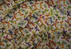 Dragonfly Childrens Print (Cream) Dressmaking Fabric
