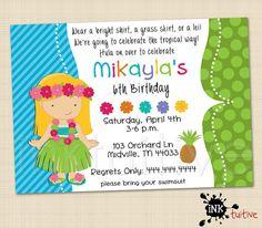 Hula Luau Blonde Girl Digital Invitation - Luau Invite, Birthday Party Invitation, Printable Invite, DIY Invitation