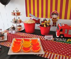 Red, yellow & orange jelly cups were simple to make and a hit with the kids.  They were a perfect addition to the Fireman Party!
