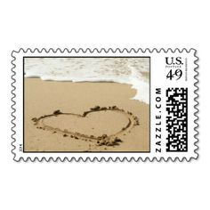 Shop Love Heart Beach Wedding Invitation Stamp created by ForBetterOrWorse. Personalize it with photos & text or purchase as is! Beach Wedding Invitations, Save The Date Invitations, Wedding Stationery, Custom Invitations, Invites, Custom Postage Stamps, Wedding Postage Stamps, Wedding Stamps, Love Stamps