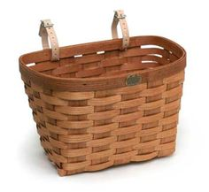 Peterboro basket small, medium, large, extra large, and rear rack bicycle baskets hold up to 70 pounds and come with genuine leather straps with zinc-coated buckles to attach securely to your bike. Bicycle Basket, Bike Baskets, Picnic Baskets, Bicycle Art, Bicycle Storage, Wood Basket, Large Baskets, Made In America, Storage Baskets