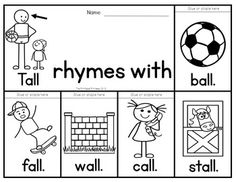 Rhyming word flip books. 40 books to teach 40 different rhyming sets. All words are spelled the same (ex: pail, tail, sail NOT whale) could also be used with word families.