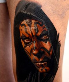 Realistic coloured Darth Maul tattoo byNikko Hurtado.
