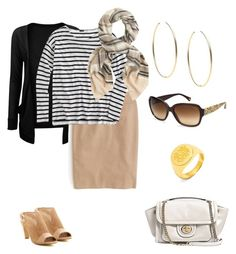 """""""Untitled #172"""" by aimemcc13 on Polyvore featuring Tahari, J.Crew, Michael Kors, Coach, BaubleBar, WorkWear, stripes, sunglasses, coach and pencilskirt"""