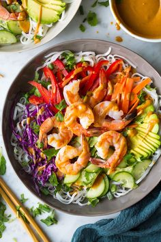 These seriously tastyRainbow Spring Roll Bowls with Peanut Sauce are boasting with bright and rich flavors and a beautiful array of colors. Then add shrimp or chicken to the mix to make them that much more filling. I just can't get enough of these bowls!