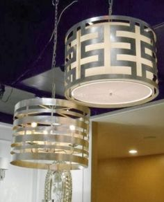 Greek Key Pendant Light - Silver – Allissias Attic & Vintage French Style