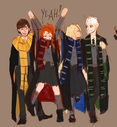 Neville, Ginny, Luna and Draco Malfoy!<<< Hiccup, Merida, Rapunzel and Jack frost Harry Potter Disney, Harry Potter Fan Art, Disney Hogwarts, Fans D'harry Potter, Harry Potter Drawings, Harry Potter Houses, Harry Potter Fandom, Harry Potter Universal, Harry Potter Memes
