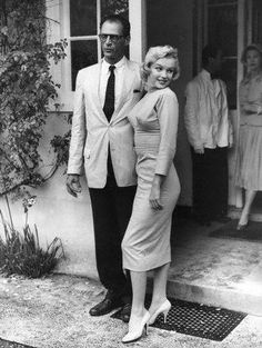Marilyn Monroe and her husband Arthur Miller at Parkside House, Egham, England, 1956.