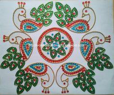 Peacock design kundan rangoli-Set of 6 peacocks and one center piece Each peacock measures 13 cm x 11 cm Price: Rs 500 Contac. Indian Rangoli Designs, Rangoli Designs Images, Mehndi Designs, Peacock Design, Bird Design, Mandala Design, Acrylic Rangoli, Rangoli Colours, Diwali Craft
