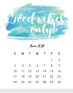 June 2018 Calendar with Quotes