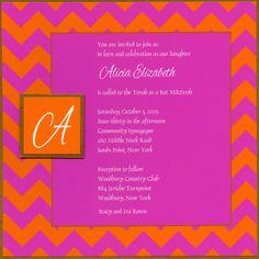 Pink and Orange Chevron Bat Mitzvah invitation by Barefoot Creations