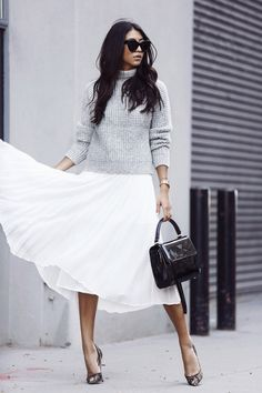 fashion-clue: justthedesign: This grey marl knitted jumper...
