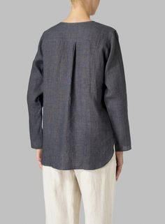 MISSY Clothing - Linen L/S Relaxed Fit Blouse