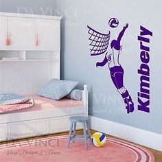 Volleyball Player Decal Girl Custom Name Wall Personalized Vinyl Sticker  Decor
