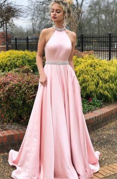 Elegant Beaded Pink Long Prom Dress with Open #prom #promdress #dress #eveningdress #evening #fashion #love #shopping #art #dress #women #mermaid #SEXY #SexyGirl #PromDresses