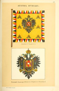 Drawings of the flags in use at the present time by various nations Austrian Empire, In Use, Holy Roman Empire, Napoleonic Wars, Central Europe, Lorraine, Herb, Flags, Coins