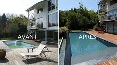 Avant apres piscine a debordement renovation terrasse bois