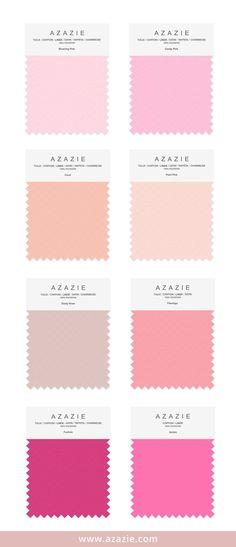 Azazie Pink Swatch (8 shades * 6 fabrics) - Bridesmaid dress, Wedding, Wedding gown, Blushing Pink, Candy Pink, Pearl Pink, Coral, Dusty Rose, Flamingo, Azalea, Fuchsia, chiffon, mesh, lace