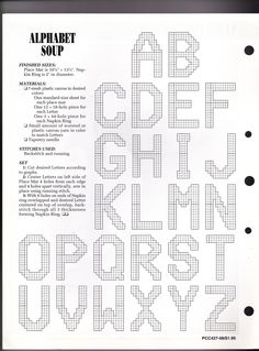 Plastic Canvas Letters, Plastic Canvas Crafts, Cross Stitching, Cross Stitch Embroidery, Cross Stitch Patterns, Alphabet And Numbers, Uppercase Alphabet, Alphabet Soup, Abc Soup