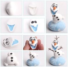 One of the most hilarious and endearing characters in Disney's animated feature, Frozen, is a little snowman named Olaf. You can make your own miniature version of Olaf with some polymer clay. We have a large selection of polymer clay colors to choose fro Fondant Olaf, Frozen Fondant Cake, Olaf Cake, Fondant Toppers, Frozen Cake, Fimo Disney, Polymer Clay Disney, Cute Polymer Clay, Polymer Clay Projects