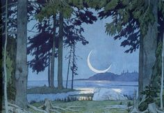 Night on the Shores of Lake Ilmen, Ivan Bilibin Russian Folk, Russian Art, Russian Ballet, Robert Bly, Retro Illustration, Ivan Bilibine, Collaborative Art, Art Night, Andrew Archer