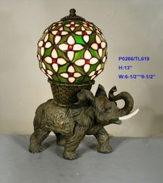 TIFFANY STAINED GLASS LEADLIGHT ELEPHANT BALL LAMP