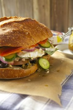 Pan Bagnat--A traditional French sandwich of tuna and vegetables.