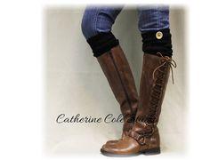 Leg warmers knit wood button trim crochet leg warmers boot womens leg warmers crochet knit pattern WOODLAND Black Catherine Cole Studio LW0