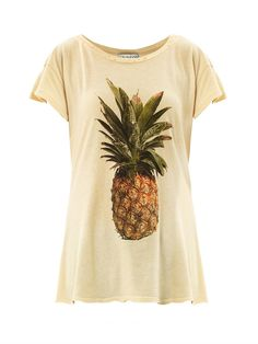 Wildfox Pineapple-print T-shirt - Wildfox Couture Pineapple Shirt, Big Pineapple, Destroyed T Shirt, Beige T Shirts, Ripped Shirts, Yellow T Shirt, Cute Shirts, Pretty Outfits, Pretty Clothes