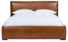 Maddox Platform Bed, Caramel Leather - Platform Beds - Beds - Bedroom - Furniture One Kings Lane Leather Platform Bed, Leather Bed, Platform Beds, Luxury Furniture, Bedroom Furniture, Furniture Design, Bedding Shop, Headboards For Beds, Upholstery