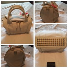 100% Authentic Alexander Wang 'Rockie' Color white Brand-new without Tag: Style: Satchel 100-percent lambskin  Exterior: Textured leather, studded bottom, and hidden exterior pockets Entry: Two-way rounded zip top Hardware: Pale goldtone Lining: Fabric Handles: Double top handles,And removable/ adjustable shoulder strap Exterior pockets: Two (2) zippered pockets hidden under pleats Interior pockets: Front flat and pouch pockets, and rear zippered pocket Approximately 7.5 inches tall x 10…