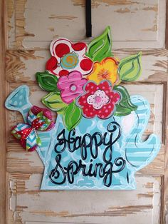 Personalized Door Hanger Spring Door Hanger by queensofcastles