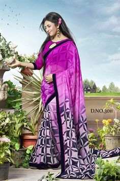 Divyanka Tripathi Purple Color Printed Saree