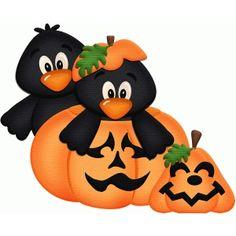 Silhouette Design Store: crows in pumpkin halloween