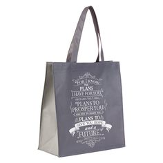 Large black tote, with Jeremiah scripture. Great for all your bible study, or church goodies. Christian Art Gifts, Christian Christian, Bible Study Materials, Alternative To Plastic Bags, I Know The Plans, Friendship Gifts, Black Tote, Gifts For Friends