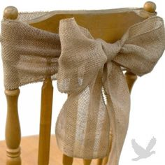 Maybe a little strange...but I kind of like this idea! (Vintage Rustic Burlap Chair Sash - http://www.koyalwholesale.com/pages-productinfo-category-490_492-product-21271/unique_theme_wedding_ideas_and_theme_decorationsbeach_tropical_ocean_and_destination_theme_weddingvintage_rustic_burlap_chair_sash_new.html)