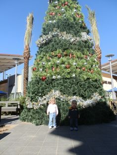 Kids had fun at the Tanger Outlets Grand Opening today!  Check out this giant tree!  I bet it's beautiful all light up!