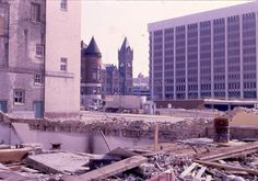 Urban renewal construction with the old courthouse and city hall and Fifth Third Bank on the right - 1966